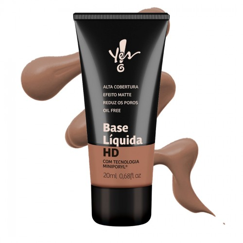 Base HD Alta Cobertura com Miniporyl - Yes Cosmetics - Marrom 02